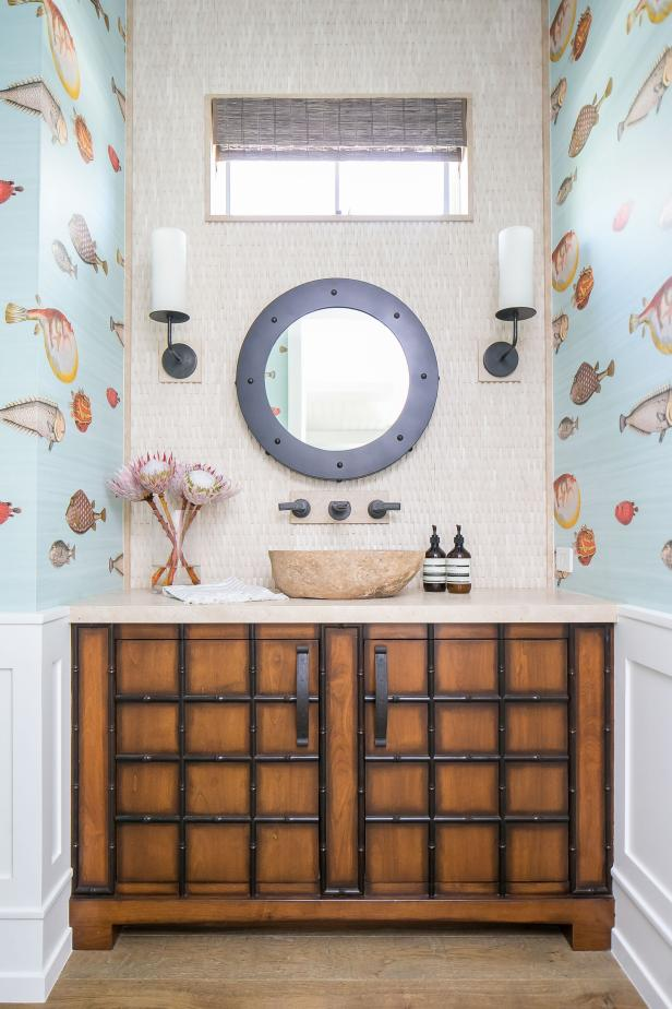 Powder Room With Fish Wallpaper