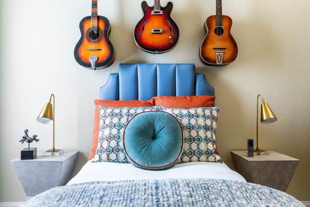 Bedroom With Guitars on Wall