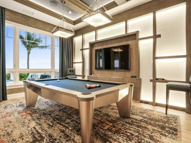 Art Deco Neutral Game Room With Beach View
