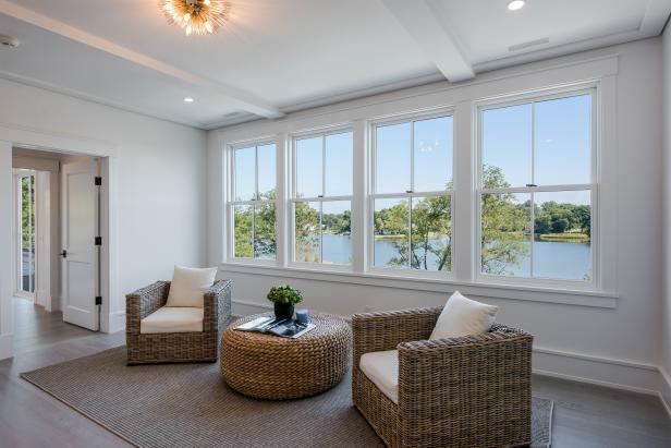 Wall-to-wall Windows with Waterfront View in Living Space