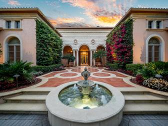 Tropical Courtyard with Fountain, Lush Landscaping