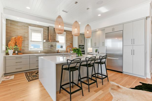 Neutral Kitchen With Basket Pendants