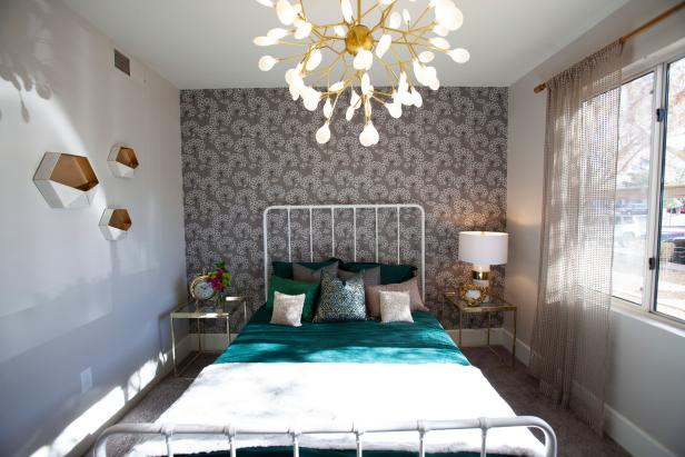 Neutral Bedroom with Gray Floral Wallpaper, Gold Light Fixture