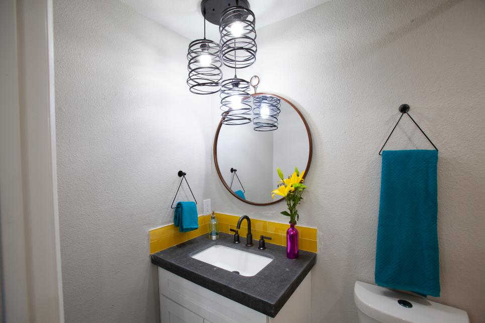 White Bathroom with Yellow  Tile Backsplash, Black and White Vanity