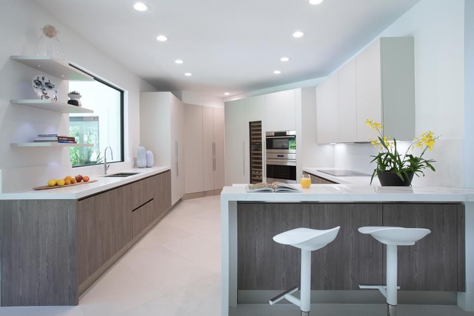 Modern Kitchen With Yellow Flowers