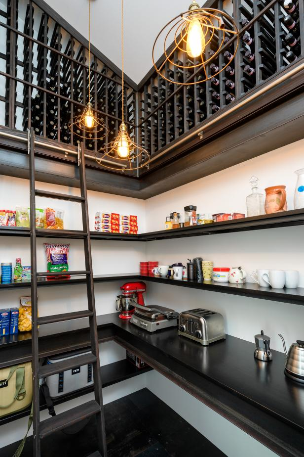 Large Walk-In Pantry With Wine Rack Overhead And Plenty Of Shelves