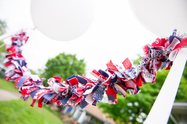 A Patriotic Garland Constructed of Strips of Bandanas