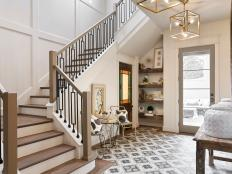 Neutral Transitional Foyer With Graphic Floor