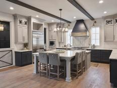 Gray Chef Kitchen With Exposed Beams