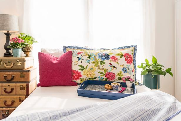 Inexpensively upcycle a bland tray and a bit of leftover fabric into a designer-worthy tray ready for breakfast-in-bed any day.