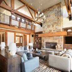 Rustic Great Room With Blue Sectional