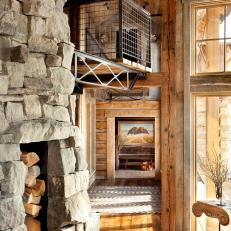 Rustic Cabin With Stone Fireplace