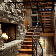 Rustic Chic Fireplace Between Floors