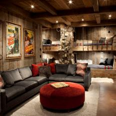 Cozy Cabin Living Space With Built-In Day Beds