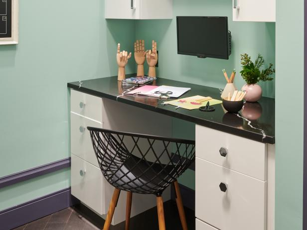 Small Kitchen Desk With TV   HGTV