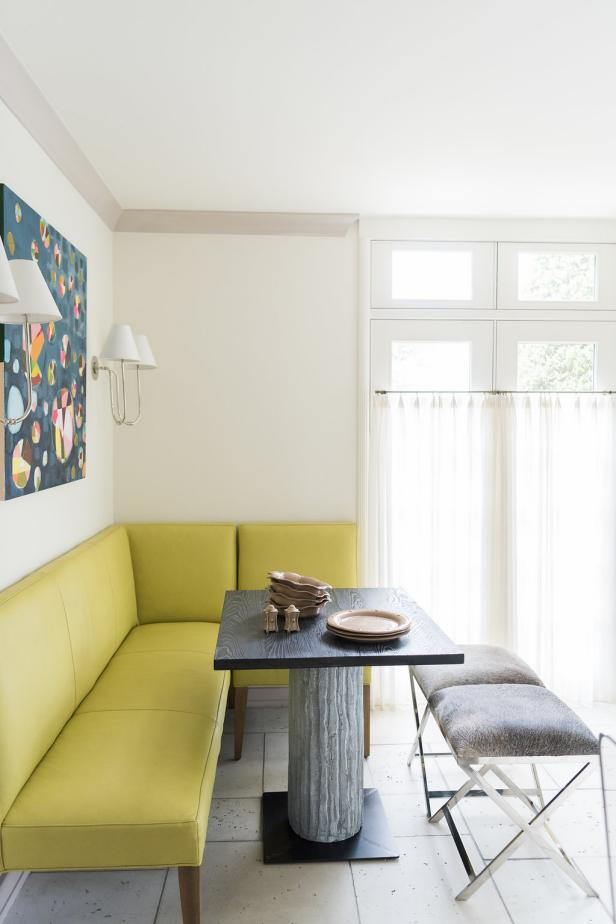 Breakfast Nook With Yellow Banquette