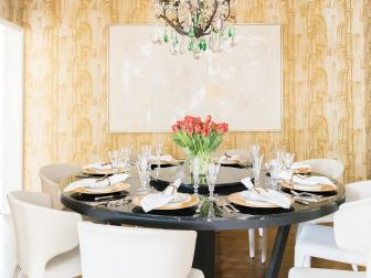 Gold Art Deco Dining Room With Tulips