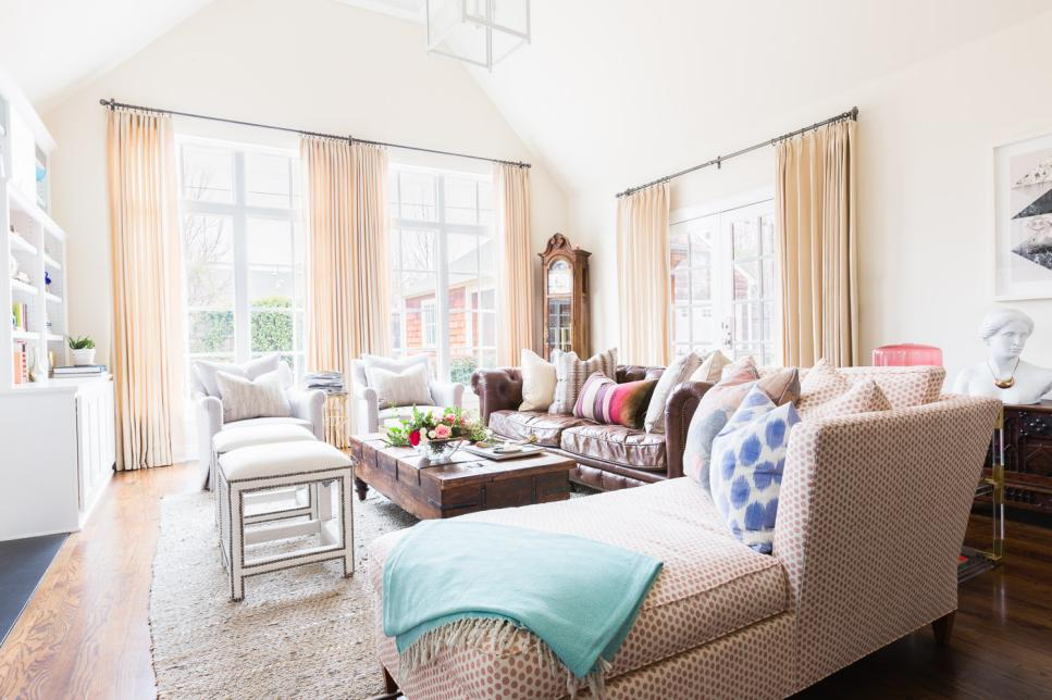 Large, Bright Living Room With High Vaulted Ceilings