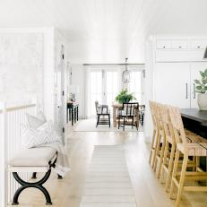Traditional Black-And-White Eat-In Kitchen And Dining Space