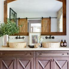Mediterranean Bathroom With Barn Door