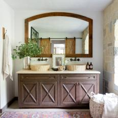 Mediterranean Master Bathroom With Pink Rug
