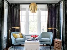 Eclectic Sitting Area With Gold Pendant