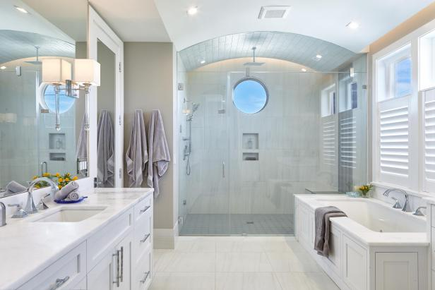 White Coastal Master Bathroom
