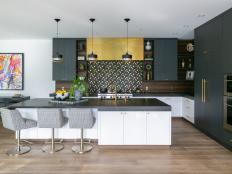 Modern Kitchen Awash in Black, White and Gold