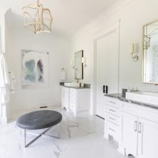 Contemporary Master Bathroom With Ottoman