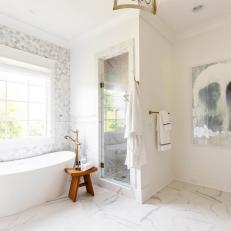 Gray Contemporary Master Bathroom With Stool