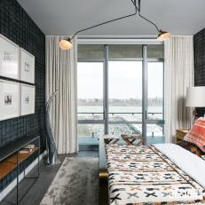 Gray Contemporary Guest Bedroom With River View