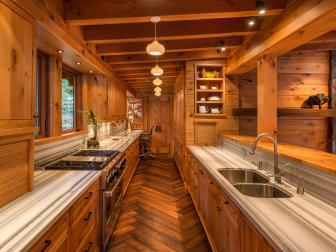 Rustic Galley Kitchen With Striped Counters