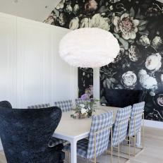 Shabby Chic Dining Room With Rose Wallpaper