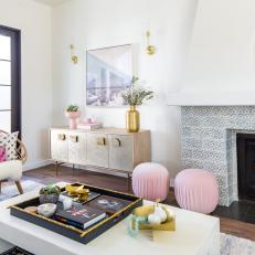 Contemporary Living Room With Pink Poufs