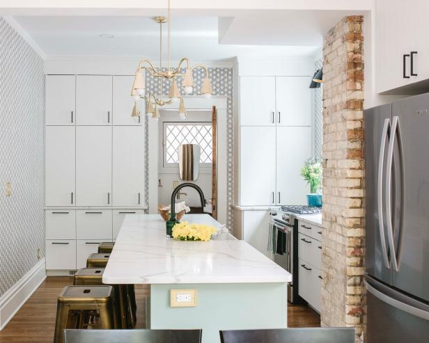 Small Kitchen With Chandelier