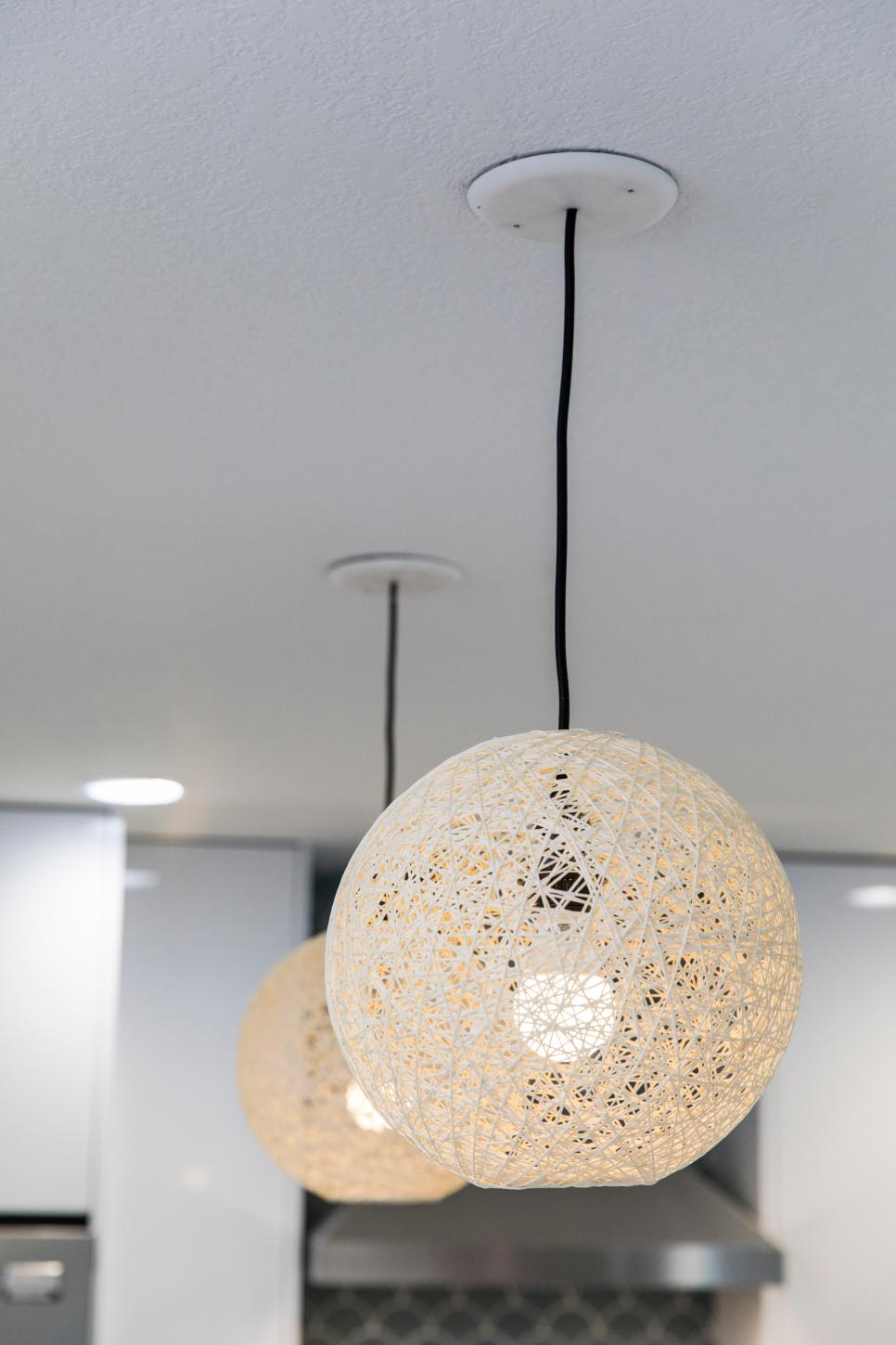 Two Neutral Woven Pendant Lights
