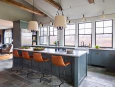 Transitional Chef Kitchen With Leather Stools