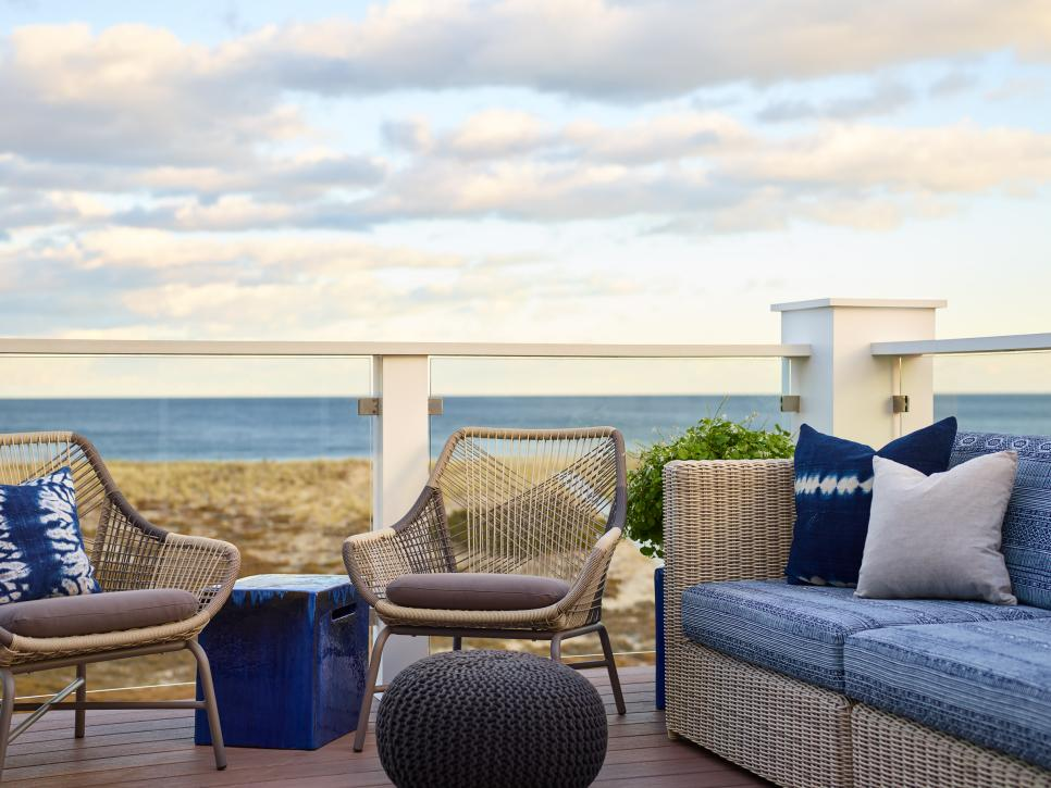 Beach House Deck With View of Atlantic Ocean and Seating Area