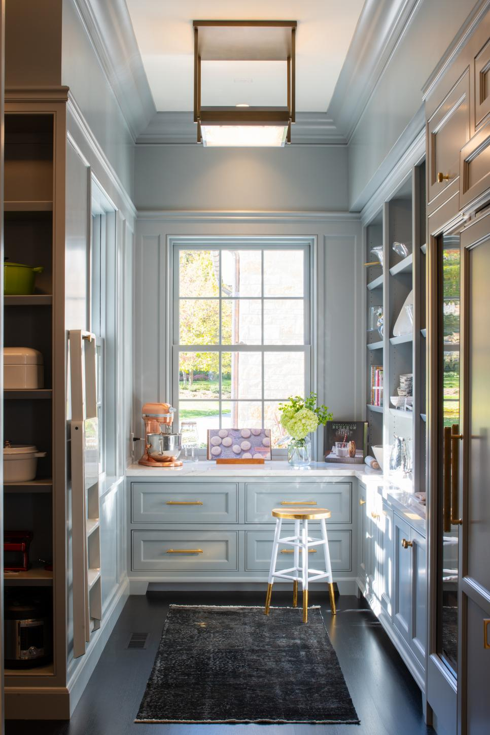 Butler's Pantry With Gray Cabinets, White Counter and Built-in Shelves