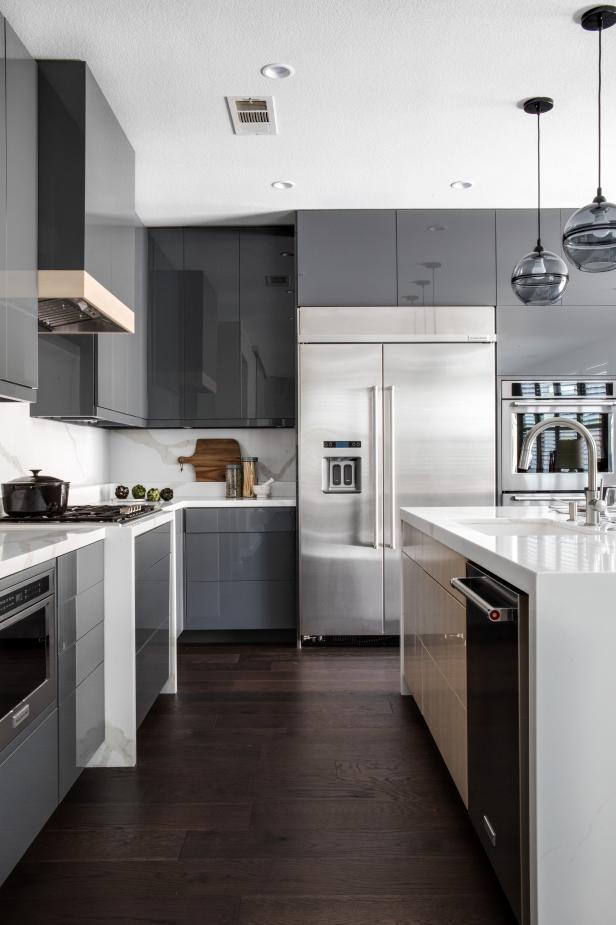 Contemporary Kitchen with Shiny Gray Cabinets   HGTV