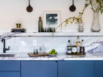 Blue Bar With Marble Shelf