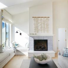 Coastal Living Room With Blue Fireplace