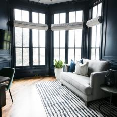 Modern Navy and White Home Office with Loveseat