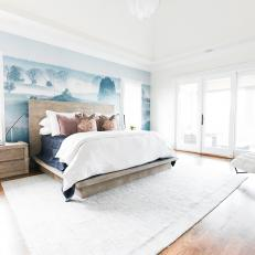 Contemporary White and Blue Master Bedroom Retreat