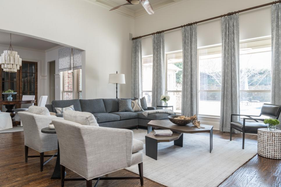 Blue and White Living Room Features Durable Fabrics