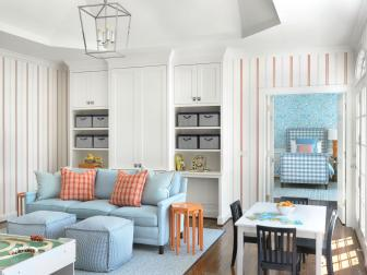 Transitional Playroom With Striped Wallpaper
