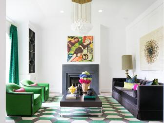 Modern Multicolored Living Room With Green Rug
