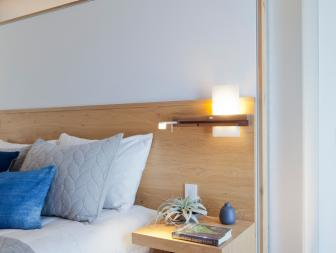 Modern Master Bedroom with Integrated Oak Headboard