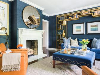 Living Room of Blues, Orange and Gold