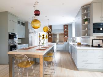 Fresh, Clean Kitchen with Whimsical Pendants